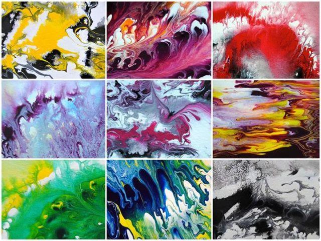 Astrid Stöppel in Weilheim, abstrakte Kunst auf Leinwand und Papier, Ausstellung in Florenz, abstrakt und modern, fluid painting, fluids