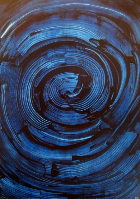 abstrakte Kunst blau, kunstwerke auf leinwand, unikat, einzelstücke, kunst aus weilheim für ausstellungen und galerien, künstlerbedarf bei stöppel