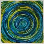 abstrakte Kunst blau, kunst in grün, maigrün und blau, moderne bilder bei endkreativ, astrid stöppel