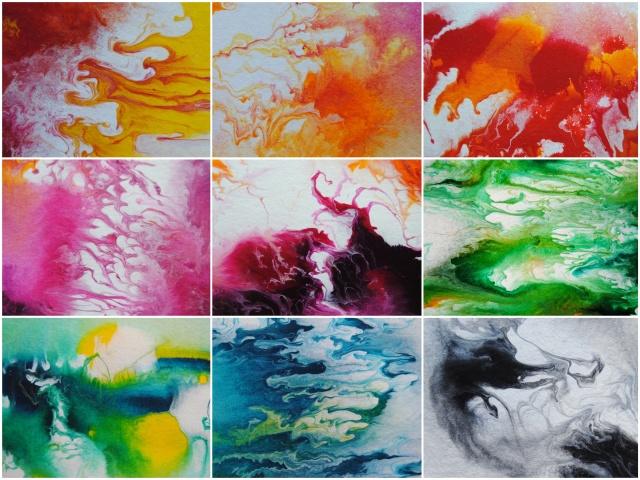 fluid acrylics, fluid painting, new collage with colorful paintings, zeitgenössische Malerei, abstrakte Malerei, bunte Acrylbilder