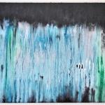 abstrakte Kunst heute, Acrylbild aus der Serie running acrylics, blau und türkis auf schwarzem Hintergrund, moderne und abstrakte Kunst, online kaufen bei Saatchi Art Shop