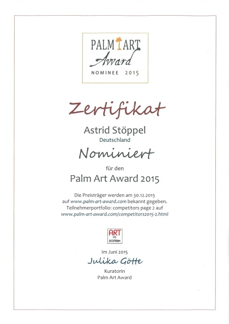 Palm Art Award 2105, Astrid Stöppel, Astrid Stoeppel, Art Award, 2015, exhibition, series colorful acrylics, living colors, astridstoeppel.com