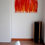 fluid painting with acrylic colors, modern living, artwork in red, yellow, orange, exhibition in Germany, Huglfing, Weilheim
