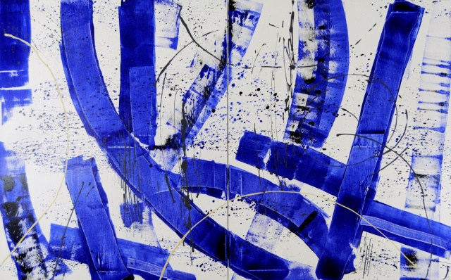 blue artwork, blue art, blue abstract art, german artist, astridstoeppel.com